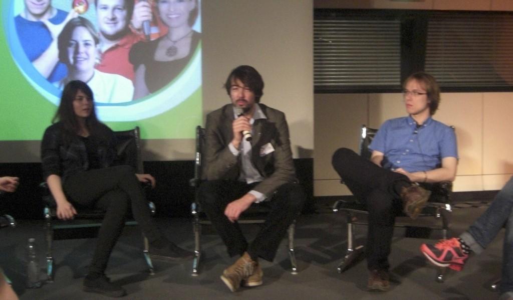 Tine, Bast und Richard während der Podiumsdiskussion