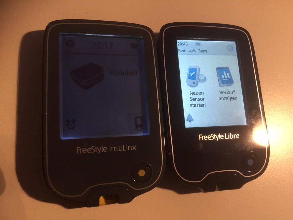 Das nahezu identisch designte FreeStyle Insulinx. Das Display des Libre ist zwar etwas kleiner, aber dafür dramatisch viel reaktionsfreudiger und heller.